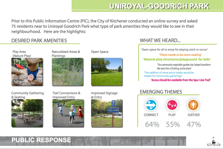 Visit http://www.kitchener.ca/en/resources/UniroyalGoodrich-PIC-presentation.pdf to see the three concepts needing your feedback!