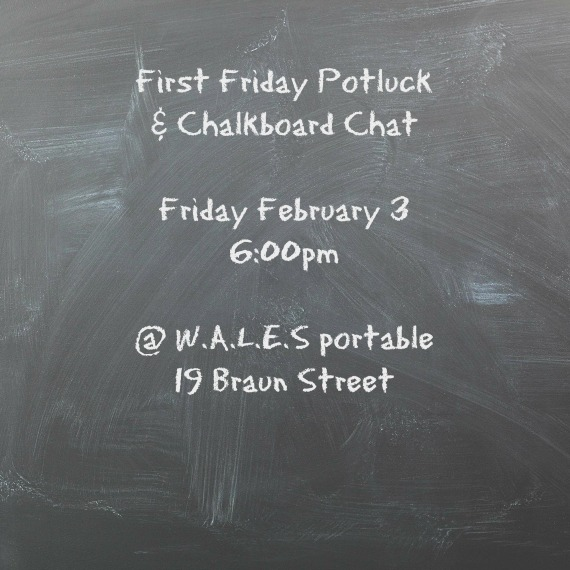 potluck announcement on chalkboard