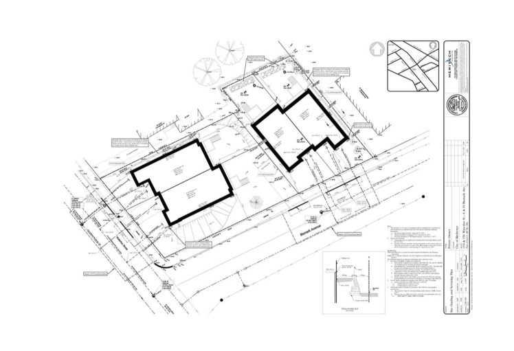 The expected site plan for buildings on the two properties: Waterloo Street and Bismark Avenue