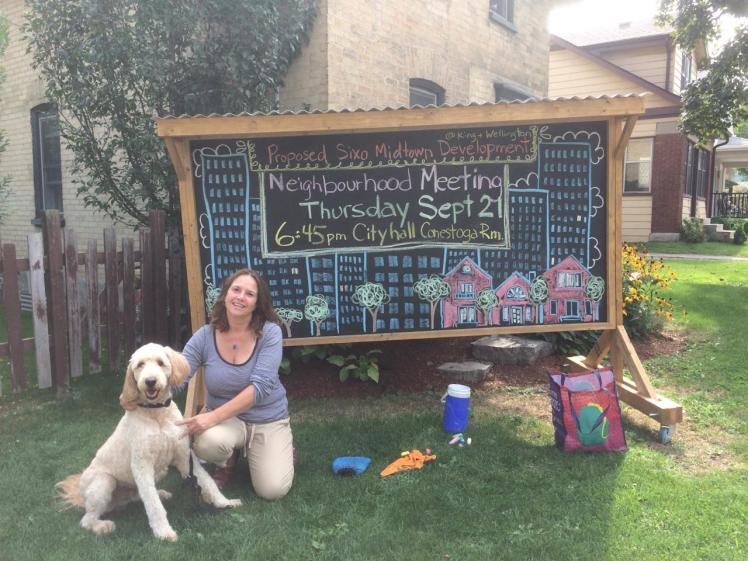 Artist Meg Leslie with her dog, Eli.