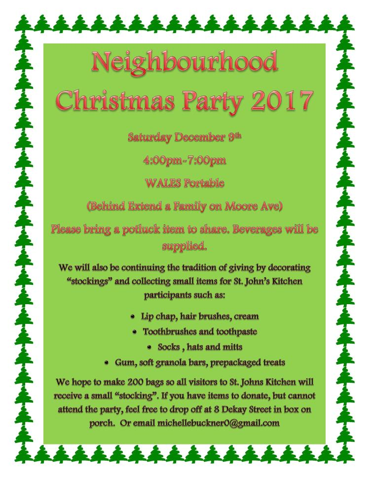 poster for midtown KW neighbourhood Christmas party