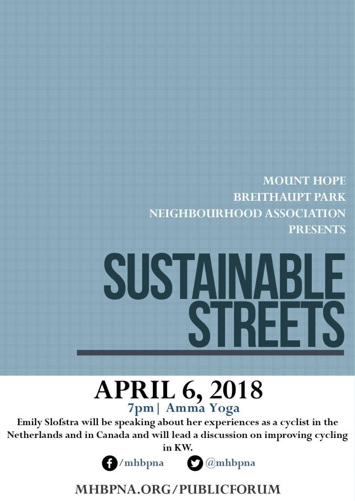 Event poster for Sustainable Streets Talk with Emily Slofstra
