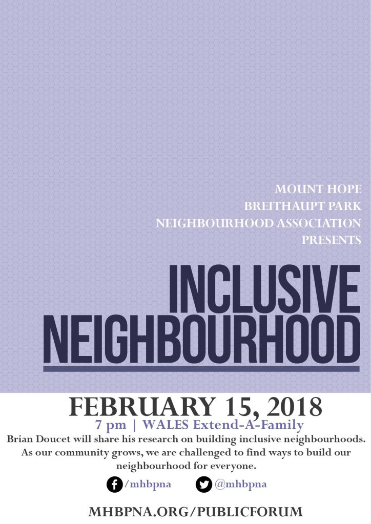Event poster for Inclusive Neighbourhoods talks with Brian Doucet