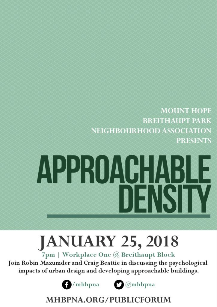 Event poster for Approachable Density talk with Robin Mazumder and Craig Beattie