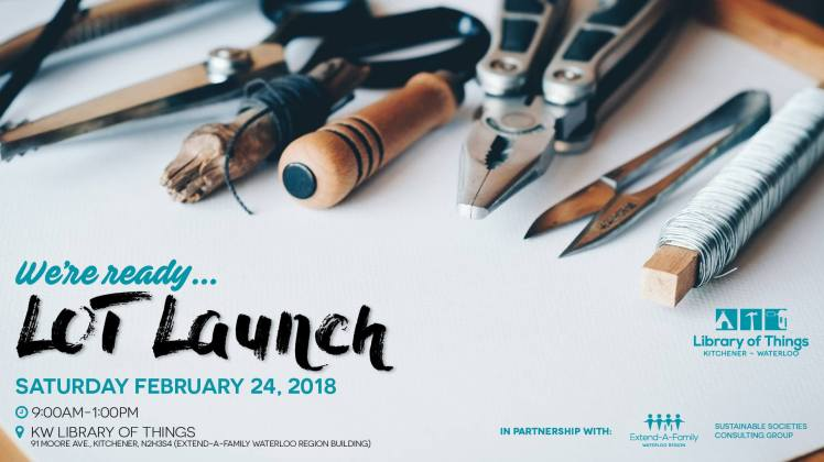 Poster for Library of Things Launch Saturday February 24