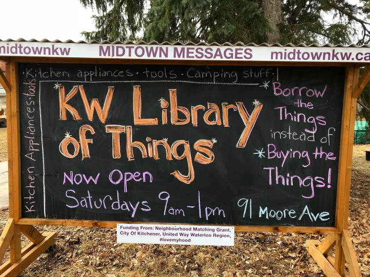 midtownkw chalkboard announces KW library of things is now open