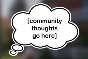 mock up of a thought bubble that would be put up around the neighbourhood