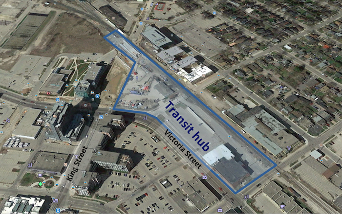 arial map showing area for new transit hub in Kitchener, bordered by Victoria Street, Duke, Breithaupt and King