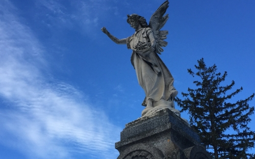 Zuber angel in Mount Hope Cemetery