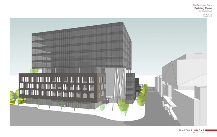 Architectural rendering of proposed changes to Breithaupt Block 3 development
