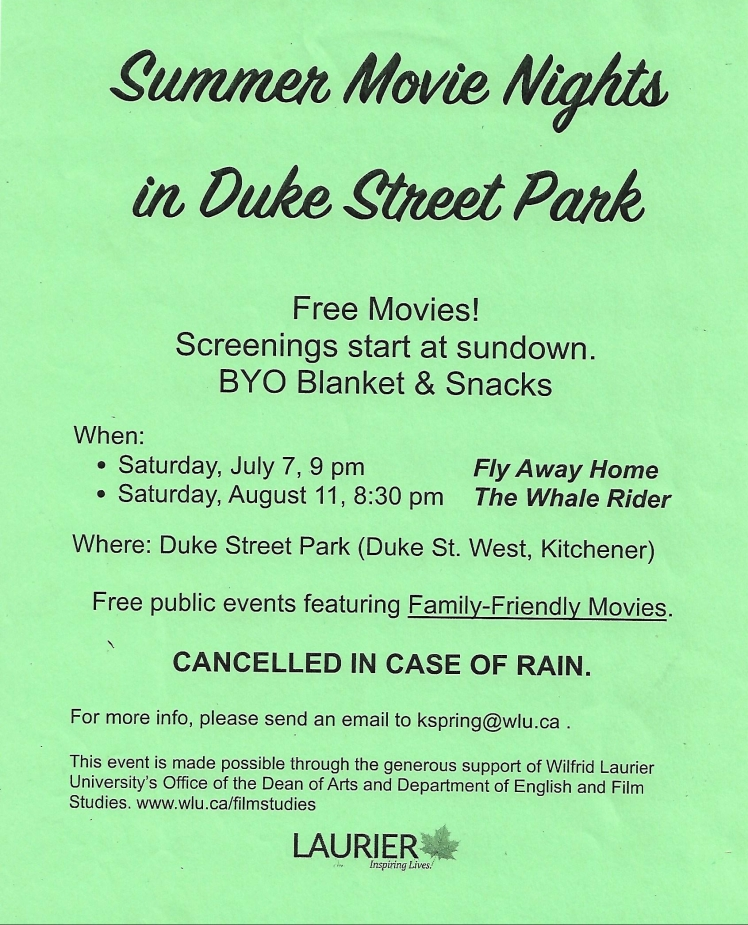 poster for summer movie nights in the duke street playground