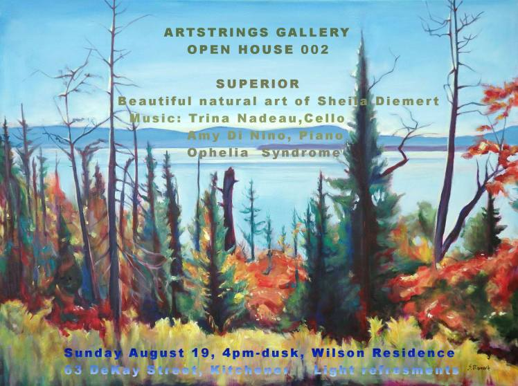 painting of Lake Superior trees in front of water