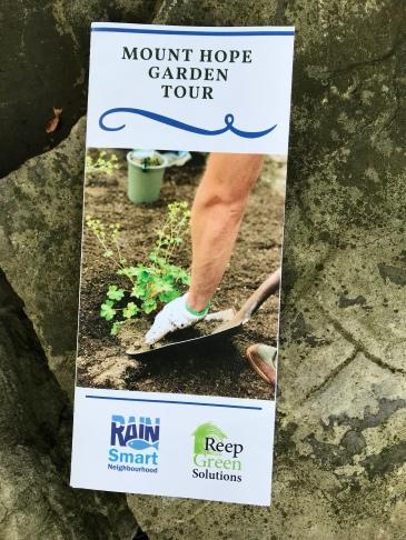Mount Hope Rain Garden Tour brochure on a rock