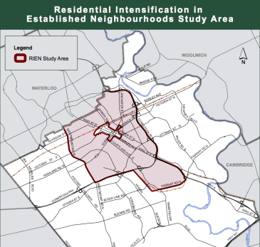 map of RIENS Study Area in Kitchener