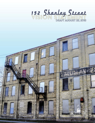 front cover of the Draft Vision Statement for 152 Shanley Street showing the building facade on Duke Street