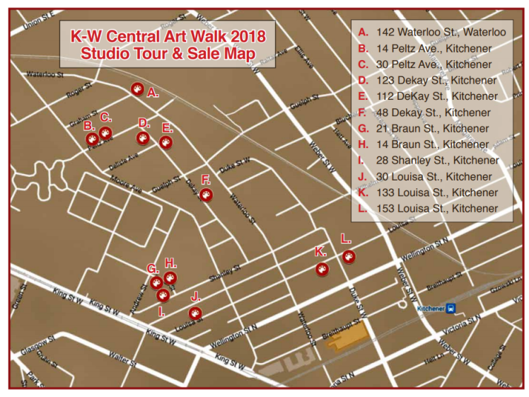 street map of central art walk locations