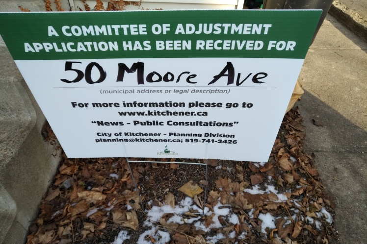 Committee of Adjustment sign on Moore Ave in Kitchener