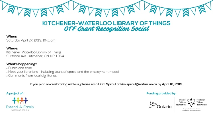 Event invitation for KW Library of Things to celebrate Supported Employment