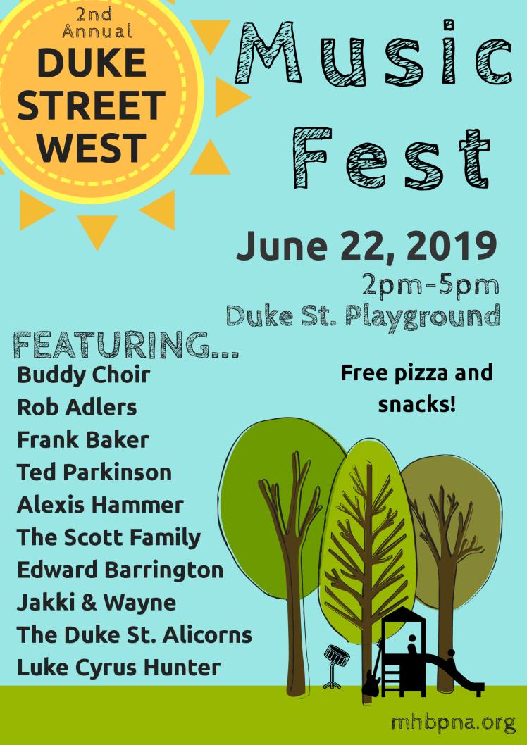 June 22, 2019, Duke St. West Music Fest 2-5pm at the Duke Street Playground