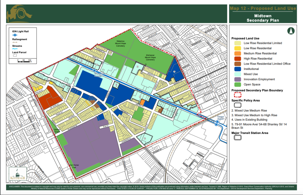 map of proposed land use designation and zoning for midtown kw neighbourhood