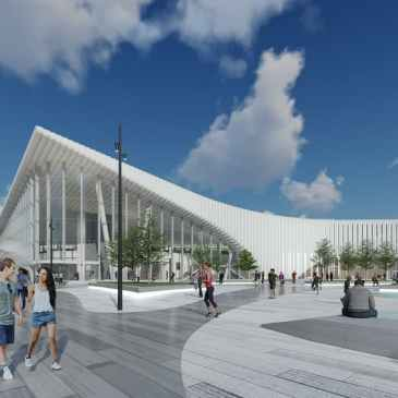 artist rendering of King Victoria Transit Hub, Kitchener